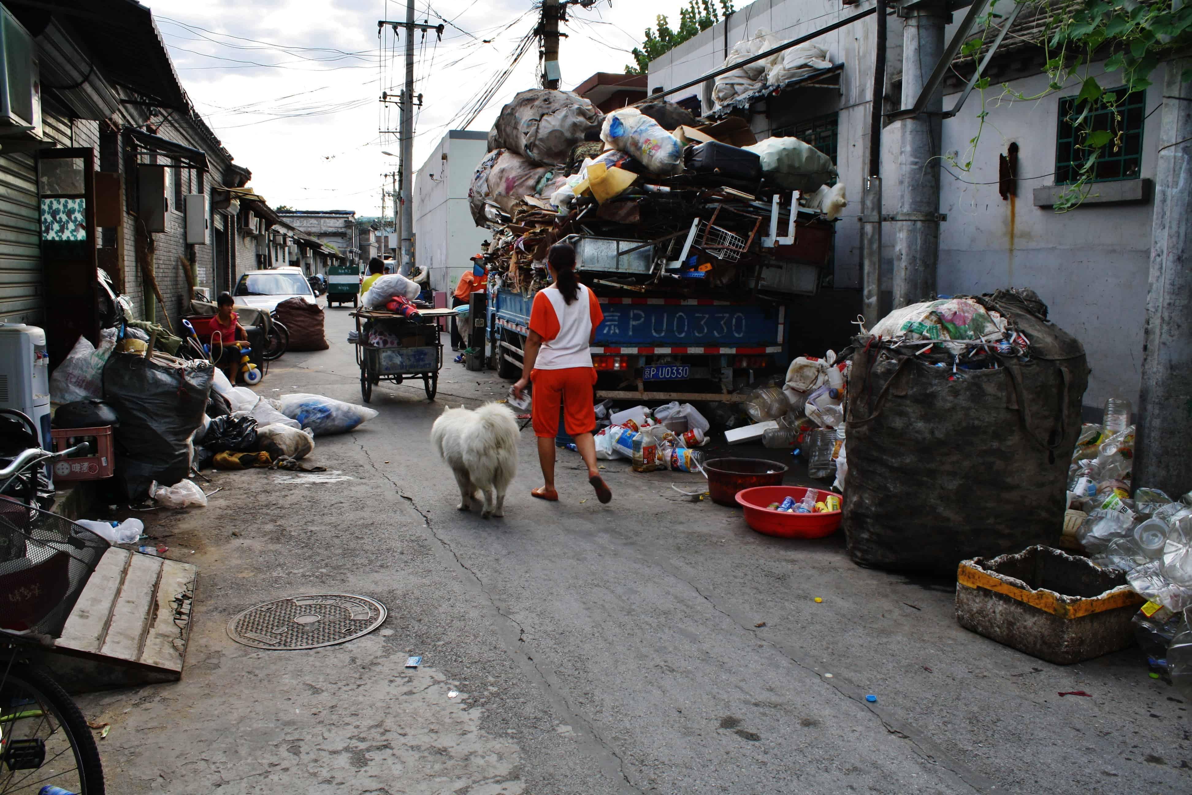 Mujer y su perro caminando en una calle en un Hutong en Beijing