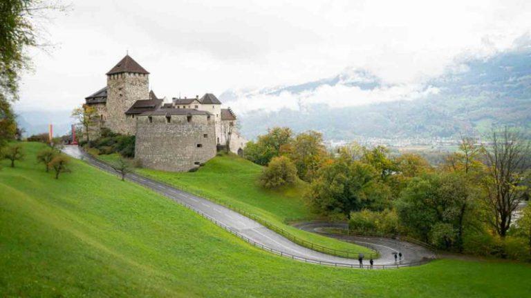 Camino pavimentado que conduce al palacio real del castillo de Vaduz - Cosas que hacer en Liechtenstein con montañas al fondo