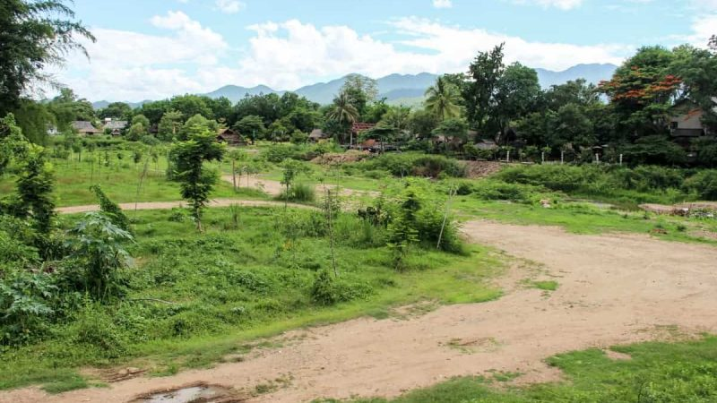 Camino rural rodeado de bosque en el viaje desde Chiang Mai a Pai en Tailandia