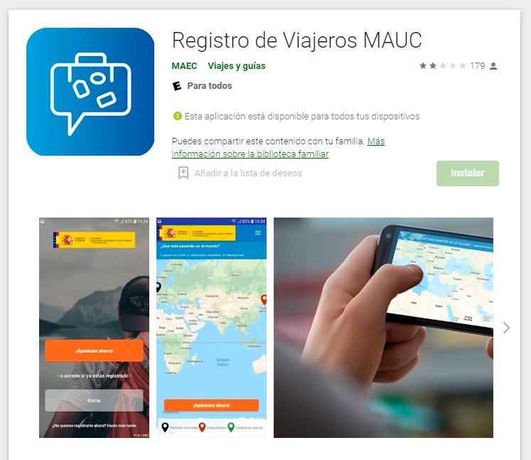 App Registro de Viajeros MAUC